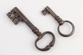 Zwei barocke Hohldornschlüssel, deutsch, 17./18. Jh.