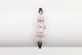 Art Deco Damenuhr, Platin mit Brillantbesatz