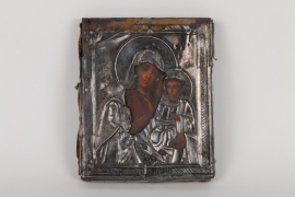 Ikone mit silbernem Oklat, Russland, 19. Jh.