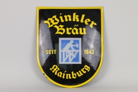 Emailschild Winkler-Bräu, 30er Jahre