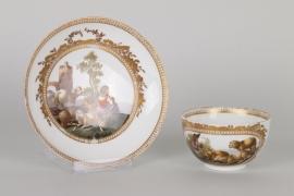 Meissen Tasse mit Watteau-Malerei um 1780/90