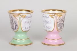 Ein Paar Geschenkpokale aus Porzellan, Nürnberg, datiert 1862