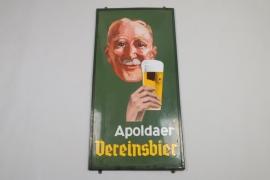 Großes Emailschild, Apoldaer Vereinsbier, Boos & Hahn um 1935