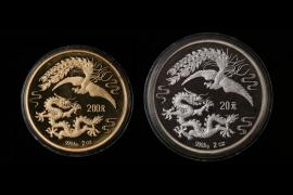 CHINA 20 & 200 YUAN 1990 - 2 x 2 OZ. PHOENIX & DRAGON