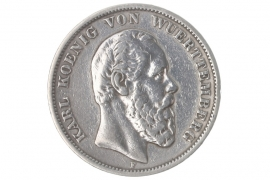 5 MARK 1874 F - KARL (WÜRTTEMBERG)