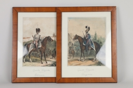 "Ein paar kolorierte Lithographien ""Garde Royale"", Frankreich 19. Jh."