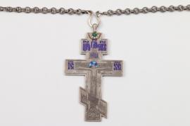 Emailiertes silbernes Halskreuz für Priester, Russland, datiert 1908