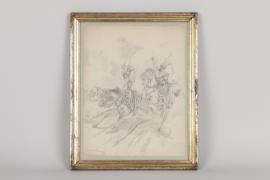 Szene aus den napoleonischen Kriegen, Bleistiftzeichnung, Frankreich um 1900