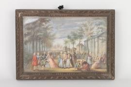 """Höfisches Fest in Parkandschaft, bezeichnet """"Aubert"""", Frankreich, 2. Hälfte 18. Jh."""