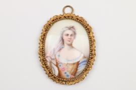Portraitminiatur einer Dame, Frankreich, Mitte 19. Jh.