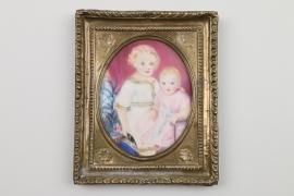 Miniatur mit zwei Kinderportraits, deutsch um 1900