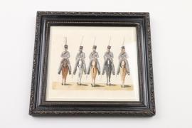 """Ulanen bei Parade"" aquarellierte Lithographie, Mitte 19. Jh."