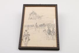 """Tuschezeichnung """"Napoleon"""", datiert 1899"""
