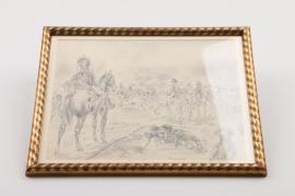 """""""Napoleon bei Marengo"""", Bleistiftzeichnung um 1900"""