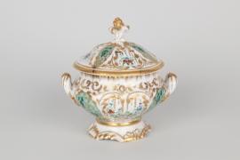 Fein bemalte Zusckerschale aus Porzellan, Thüringen um 1860