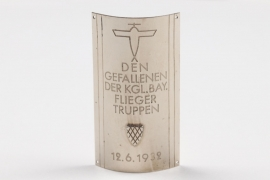 Weimar Republic - 1932 flag pole plaque Fliegertruppe