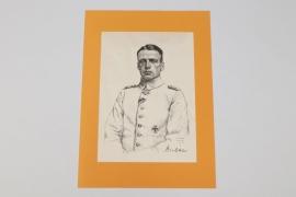 Oswald Boelcke lithograph print - O. Graf