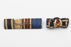 Third Reich 4-place ribbon bar + buttonhole miniature