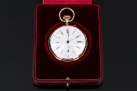Golden Gédéon Thommen pocket watch with case