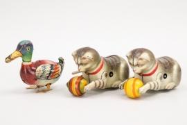 Köhler - Drei Tierfiguren Katzen und Ente