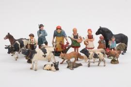 Elastolin - Konvolut Massefiguren Bauern & Tiere