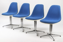 Set Of Four Blue Fiberglas La Fonda Chair // Charles and Ray Eames