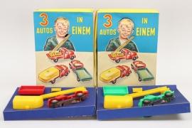 """2 + Packungen """"3 AUTOS IN EINEM"""" 50ger Jahre"""