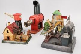 Konvolut Dampfmaschinen und Blechspielzeug