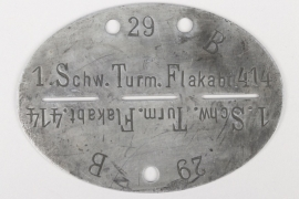 1.Schw.Turm.Flakabt.414 - Hamburg - dog tag