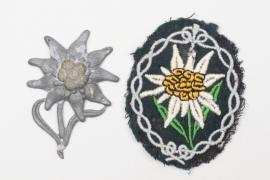 Gebirgsjäger Edelweiss sleeve & cap badge