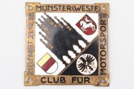 """1928 ADAC Münster """"Zielfahrt"""" enamel commemorative plaque"""