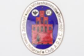"1927 ADAC Bremen ""Zielfahrt"" enamel commemorative plaque"