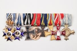 Bayern - Ordensschnalle Militärverdienstorden 3. Klasse mit Krone und Schwertern (Echt Gold)