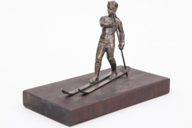 Skier bronze sculpture - table decoration