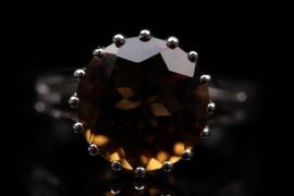 Silberring mit cognacfarbenem Rauchquarz