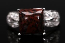 Silberring mit Mahagoni Obsidian