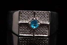Silberring mit neonblauem Apatit