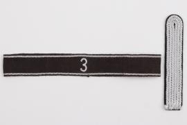 """Allgemeine-SS Standarte """"3"""" officer's cuff title & shoulder board"""