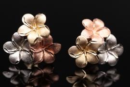 Gold, flower-shaped ear studs
