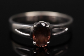 Gold ring with oval-cut smoky quartz
