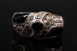 Silver ring with black gemstones