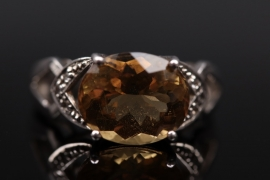 Silver ring with large citrine