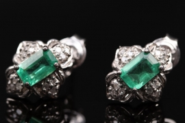 Silver ear studs with emeralds and small diamonds