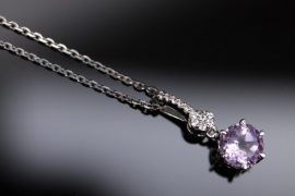 Silver necklace and pendant with soft-lilac colored amethyst