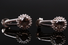 Silver earrings with smoky quartzes