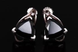 Silver earrings with black spinel