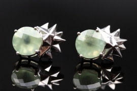 Ear studs with prehnites and silver stars