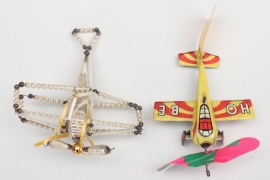 Zwei Flugzeuge Christbaumschmuck Gablonz