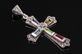 Cross pendant with a variety of gemstones