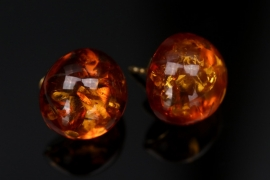 Golden ear studs with amber